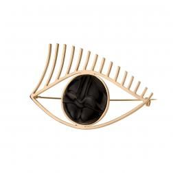 Spectacular and modern brooch from new BALI collection by Anna Orska. Brooch is made of horn and framed in brass.