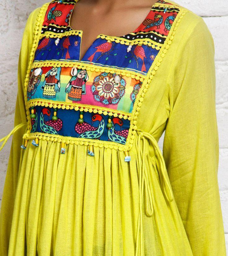 Yellow Cotton Silk Anarkali Kurta | Pakhi by Preeti Tomar