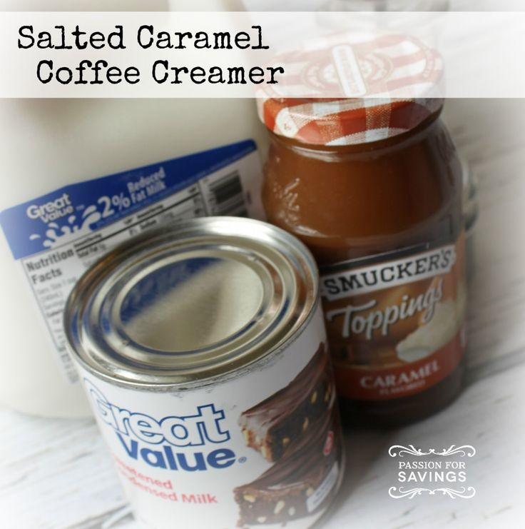Homemade salted caramel coffee creamer. Not only will you save money on buying creamer, you will also be able to pronounce all the ingredients.