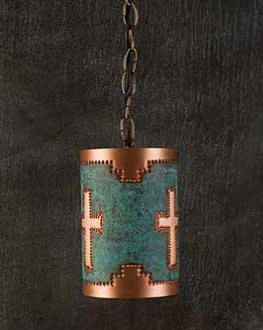 Metal pendant light- wonder if you could make this from a tin can with blue jean material?