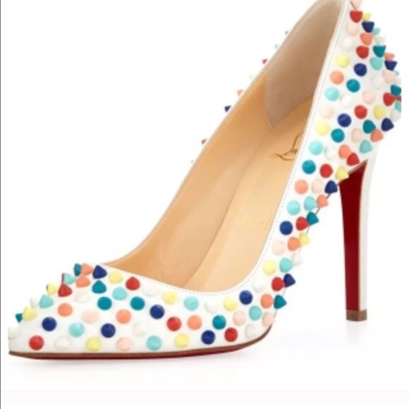 LOUBOUTIN 120mm Gomme Pigalle Pumps 115mm or 4.5 inches high Leather upper with matte lacquered spikes. Point toe. Leather lining. Signature red leather sole Rainbow spikes Padded insole. Made in Italy  Condition: New with box.  Item Details Type:Pumps Size:8 Heel Height:Ultra High 4 + Heel Style:Stiletto Brand:Christian Louboutin Color:Multicolor Style/Collection:120mm Gomme Pigalle Pumps With Multicolor Spikes Christian Louboutin Shoes Heels