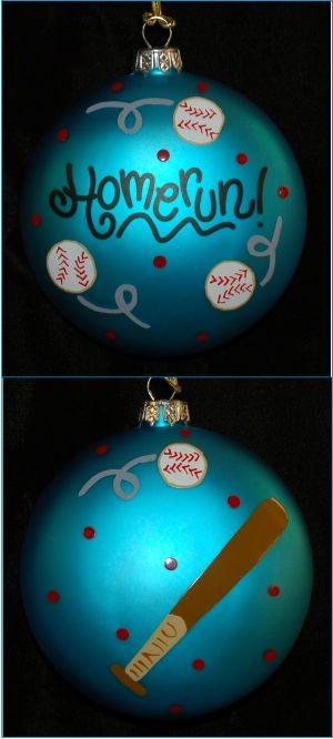 Hand Painted Baseball Glass Christmas Ornament