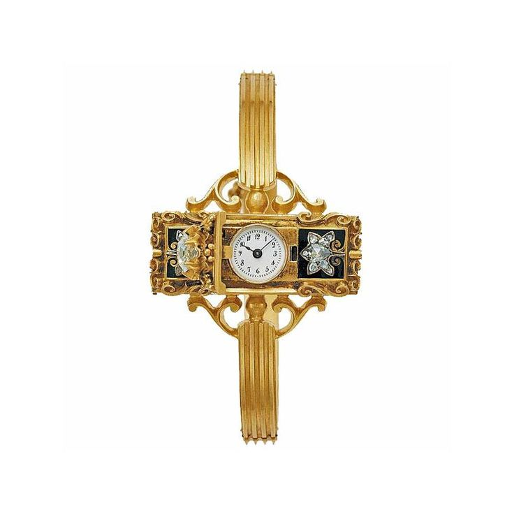 One of the first modern wristwatches for ladies, this early Patek Philippe watch was sold in 1868 to Countess Koscewicz of Hungary.  The Van Cleef & Arpels Cadenas watch in yellow gold with a mother-of-pearl dial, a recreation of a design from the 1930s (£20,600).  The Jaeger-LeCoultre 101 watch, as given to to Queen Elizabeth II to commemorate her Diamond Jubilee.  From Piaget's private collection, this watch from 1969 features an oval turquoise dial suspended in a basket of woven yellow…
