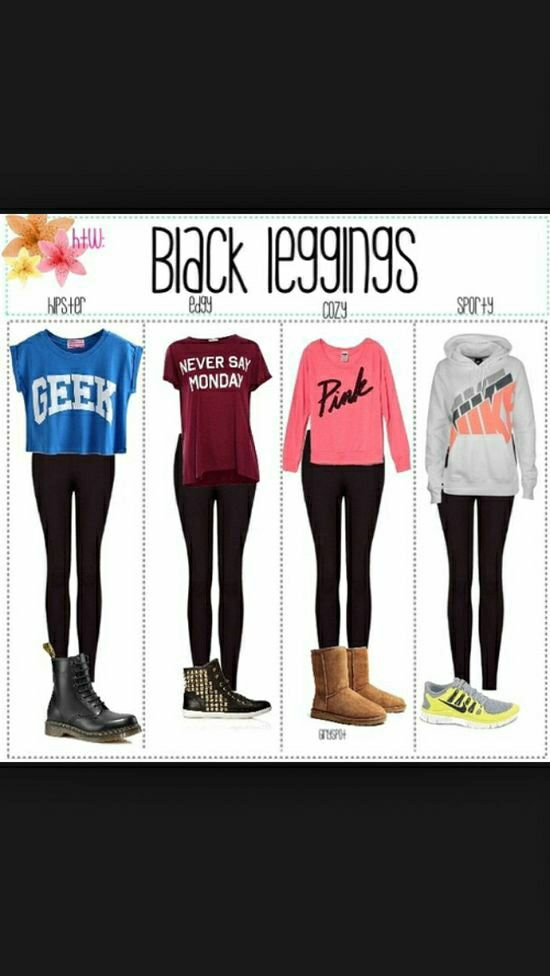 Cute teen outfit idea week rock your simple black leggings with any