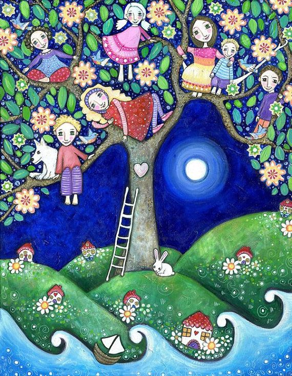 Childrens Wall Art Summer Tree folk art painting kids wall decor 7 children brothers and sisters art nursery art whimsical kids room picture...