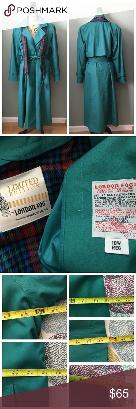 """London Fog green trench coat w/ scarf! Size 18W London Fog green trench coat with matching scarf! Size 18W. As seen above, the tag is stamped irregular, but I cannot find any issues that would warrant the stamp. The lining matches the scarf (see photo above). The lining can be removed via zipper. The matching scarf is still attached by the store's plastic tag. Buttons up the front. Belt included. Approximate flat measurements: bust 24"""", waist 21"""", hips 27"""", length 47.5"""", sleeve length 17"""". I…"""