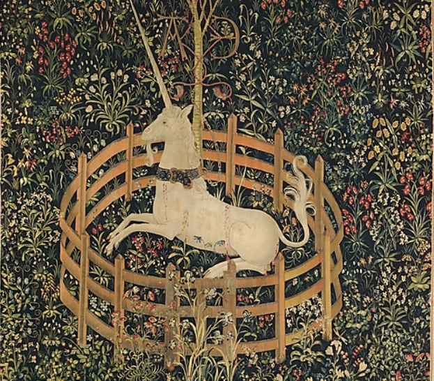The Unicorn in Captivity (from the Unicorn Tapestries)  1495–1505 South Netherlandish  http://www.metmuseum.org/Collections/search-the-collections/70007568