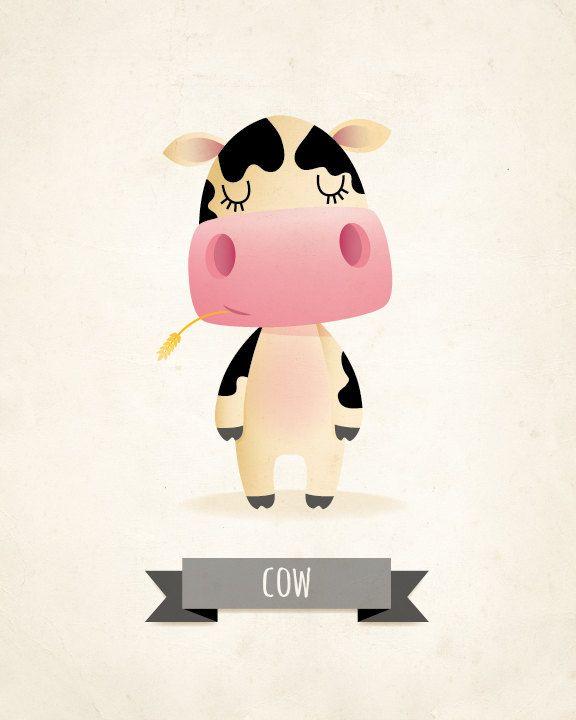 Childrens art cow nursery print kids by IreneGoughPrints on Etsy