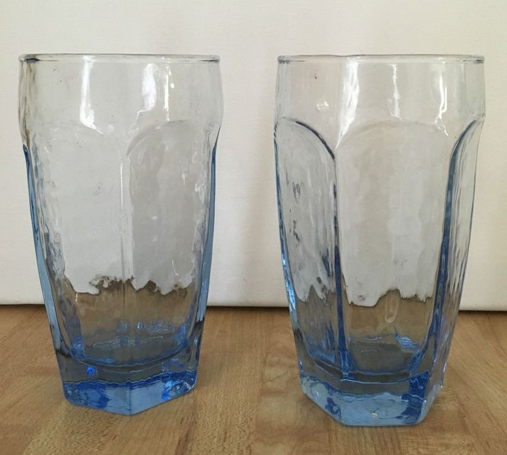 lot of 2 libbey chivalry blue textured glass cooler tumbler glasses - Libbey Glassware