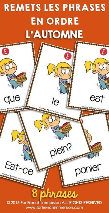 French Fall Sentence Builders - these scrambled sentences will get your French students practicing both asking and answering questions with a fall theme! En français - pour l'automne!