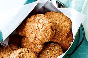 Chewy Anzac biscuits Recipe - I added an extra tbsp of golden syrup to make it extra chewy and for gluten free use quinoa flakes and GF flour or almond meal