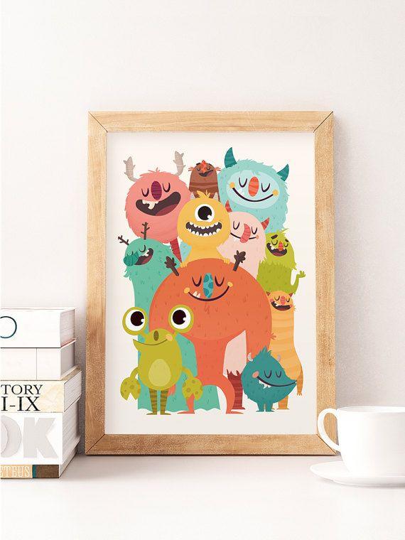 Monsters print, Cute monsters, Nursery wall art, Cool monsters art, Silly monsters baby print, Baby boy nursery, Monsters decor, Kids room