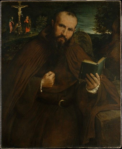 1547 - Lorenzo Lotto (Italian, Venice ca. 1480–1556 Loreto) Brother Gregorio Belo of Vicenza.  The friar is in the habit of the order and his gesture, beating his chest, alludes to Saint Jerome. Fra Gregorio, a member of the order of the Hieronymites, or Poor Hermits of Saint Jerome, sat for the artist—as noted in his account book—in December 1546 and the painting was completed the following year