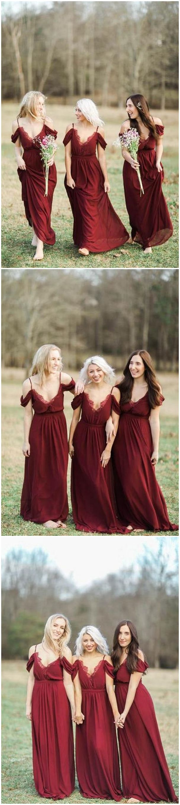 55 Burgundy Bridesmaid Dresses for Fall Winter Weddings / http://www.himisspuff.com/burgundy-bridesmaid-dresses/