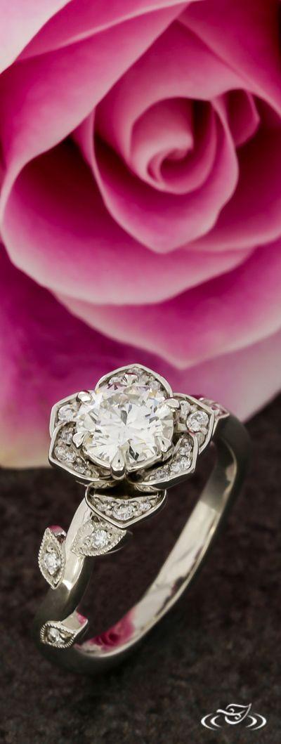Diamond Lotus Floral Halo Engagement Ring. Green Lake Jewelry 109972
