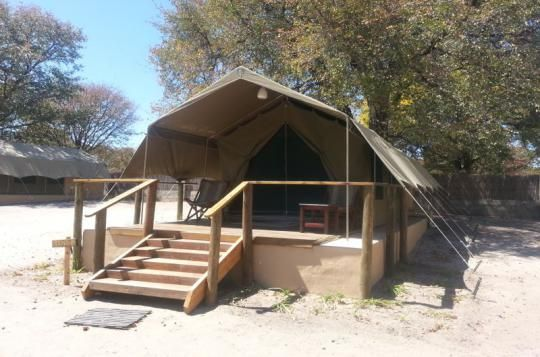 The Thamalakane River Lodge offers basic tents as well (Maun, Botswana)
