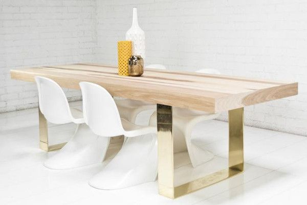 Brass Leg Wood Top Dining Table Dining Room