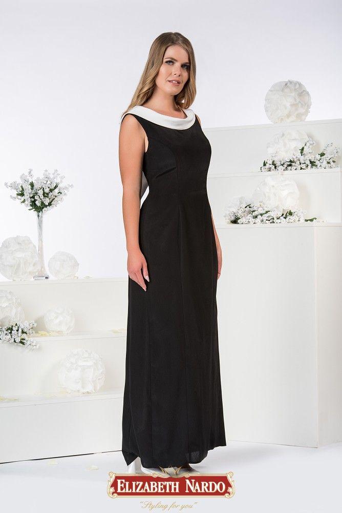 6b5845b756 19-337 Fekete- fehér szatén hosszú ruha , különleges hátrésszel ...