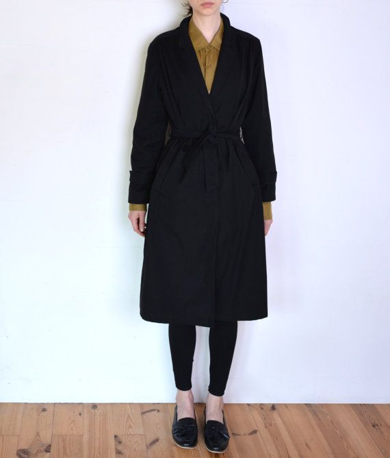 90's black trench coat classic mac coat by WoodhouseStudios