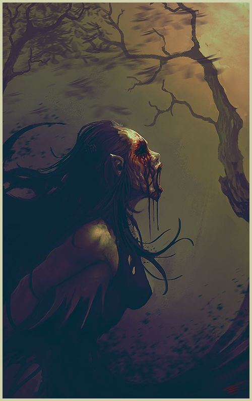 """Banshee, one of the most dreaded and best known of the Irish faeries is the Banshee, properly named the Beansidhe literally, """"woman fairy."""" She visits a household and by wailing she warns them that a member of their family is about to die. When a Banshee is caught, she is obliged to tell the name of the doomed."""