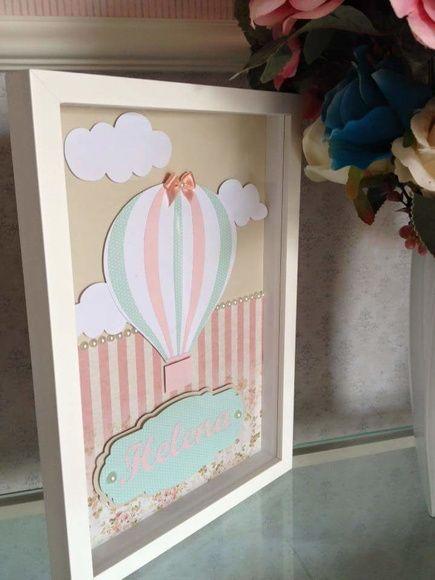 quadro balão verde e rosa