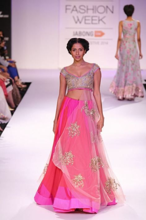 Indian wedding lehenga by anushree reddy.  Pink bridal outfit 2014