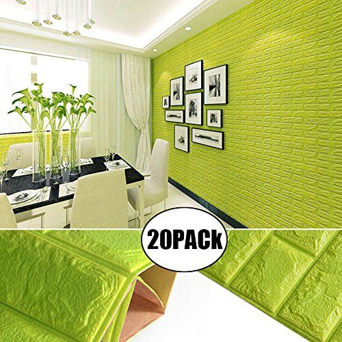 Green Color Foam Wallpaper Sticker For Boys Room Wall Decor, POPPAP 3D Foam Brick Panel Peel And Stick Wallpaper Self-adhesive Removable Wall Paper for TV Background, Children Room, Bedroom/ 20 PACK.