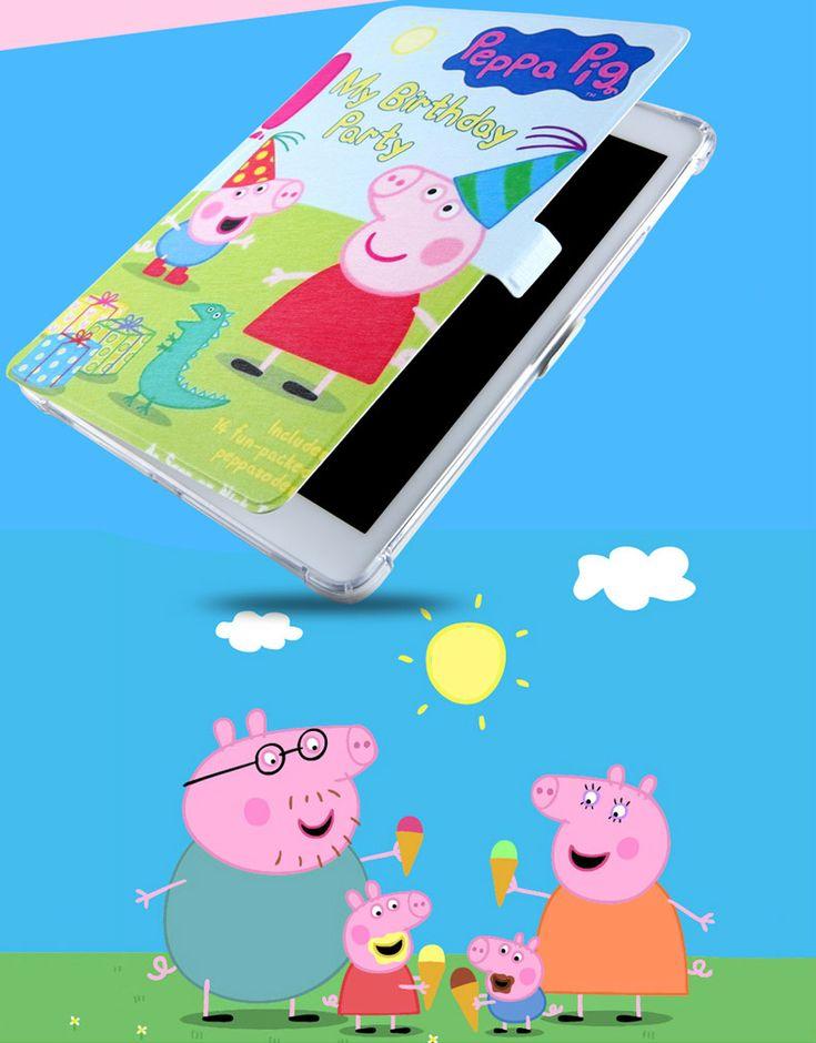 ペッパピッグiPad air2保護カバー新型proプロ9.7インチPeppa Pigアイパッド手帳型タブレットiPad9.7 TPUイラスト風絵柄