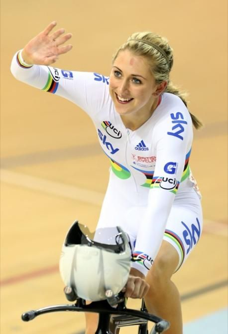 UCI Track World Cup-Britain's Laura Trott salutes the crowd as the winner of the women's omnium Photo credit © Gerry McManus