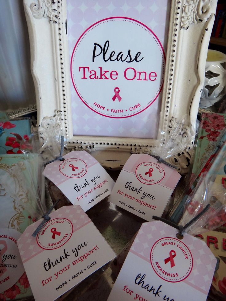 Breast Cancer Awareness breakfast favors by Watermelon. Gorgeous assorted notebooks and rose bath salts from Rain.  Favor tags and stickers from Chickabug x