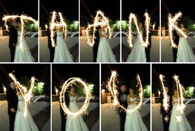 Thank You card ideas for wedding presents!  I heart sparklers :)