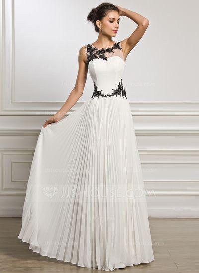 Vestidos princesa/ Formato A Decote redondo Longos De chiffon Tule Vestido de festa com Apliques de Renda Plissada (017051628)