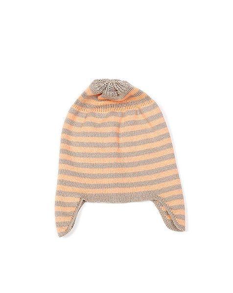 Indus Ear Flap Baby Hat 0-1yrs Stone/Sherbert   Krinkle Gifts