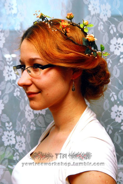 Peach pink rose circlet with pale pink pearls strung on golden wire. On Yew Tree Workshop