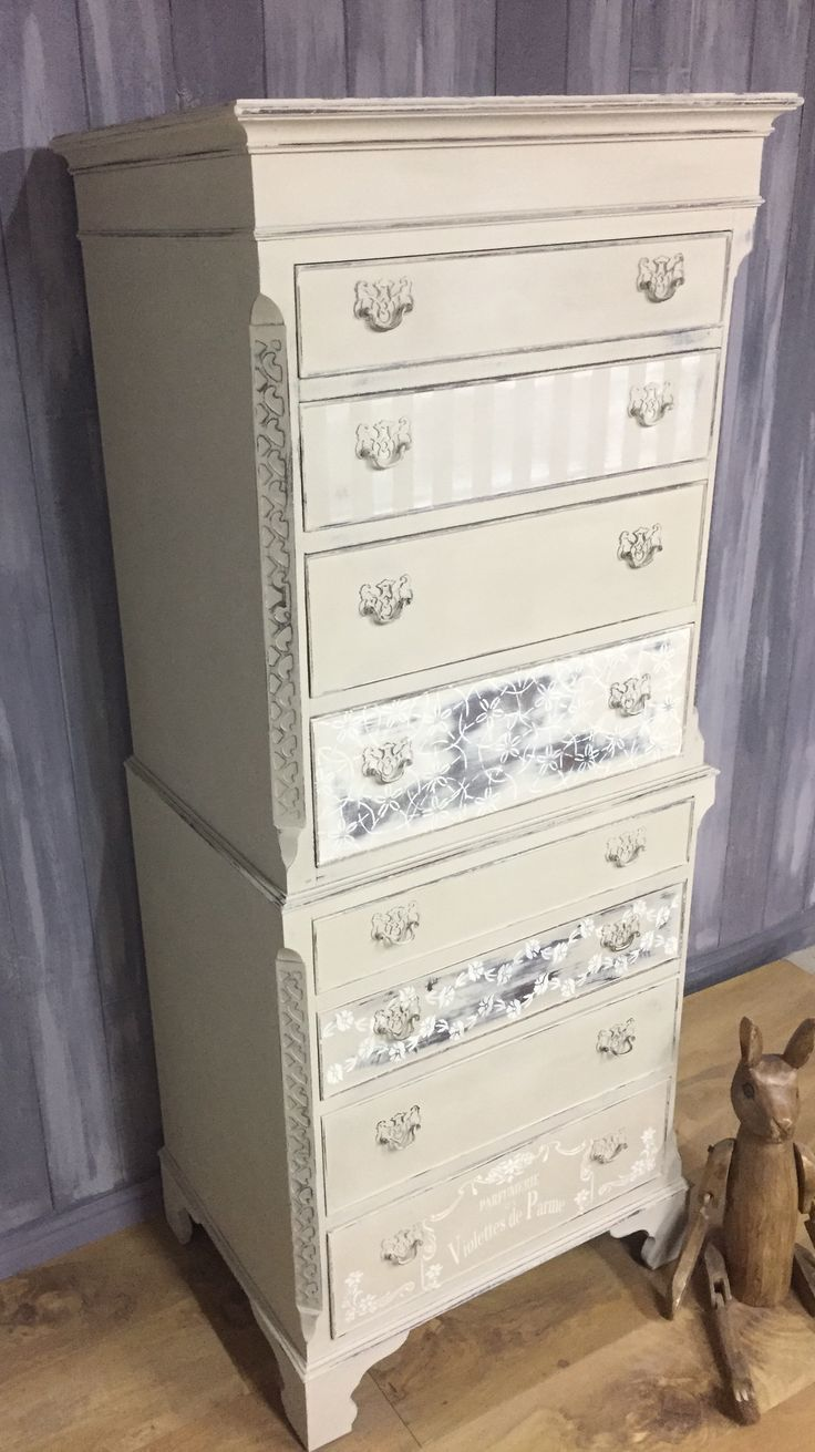 Vintage tallboy hand painted in Annie Sloan Chalk Paint 'Country Grey' and 'Original', distressed, and sealed with clear wax.