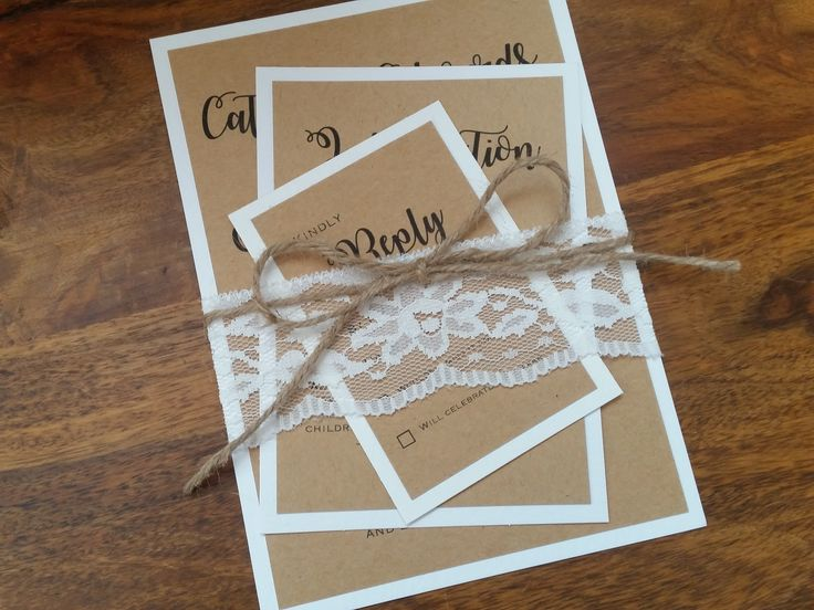 The Bethany Collection - Love this very simple but extremely elegant rustic wedding invitation, with a delicate floral lace band around the invitation, finished with a burlap string bow around the middle.