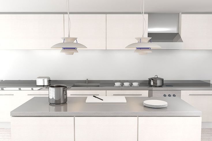 Light grey benchtops white cupboards (would look great with dark grey splash backs)