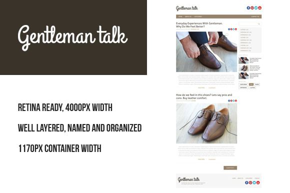 Gentleman PSD retina blog template by Knofe on @creativemarket