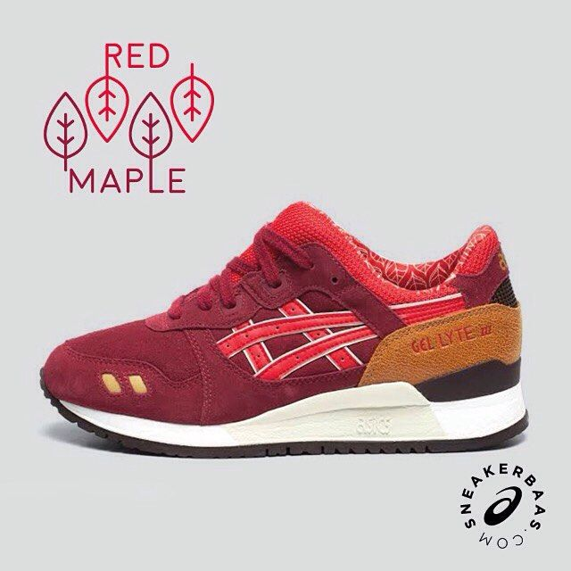 #asics #redmaple #gellyte #sneakerbaas #baasbovenbaas  Asics gel-Lyte III This Asics release is preparing you for the coming fall season. A fine pattern of leaves makes his way on the innerlining and a burgundy upper makes the 'Red Maple' come alive.  Now online available | Priced at 109.99 EU | Wmns Sizes 36 - 42.5 EU |