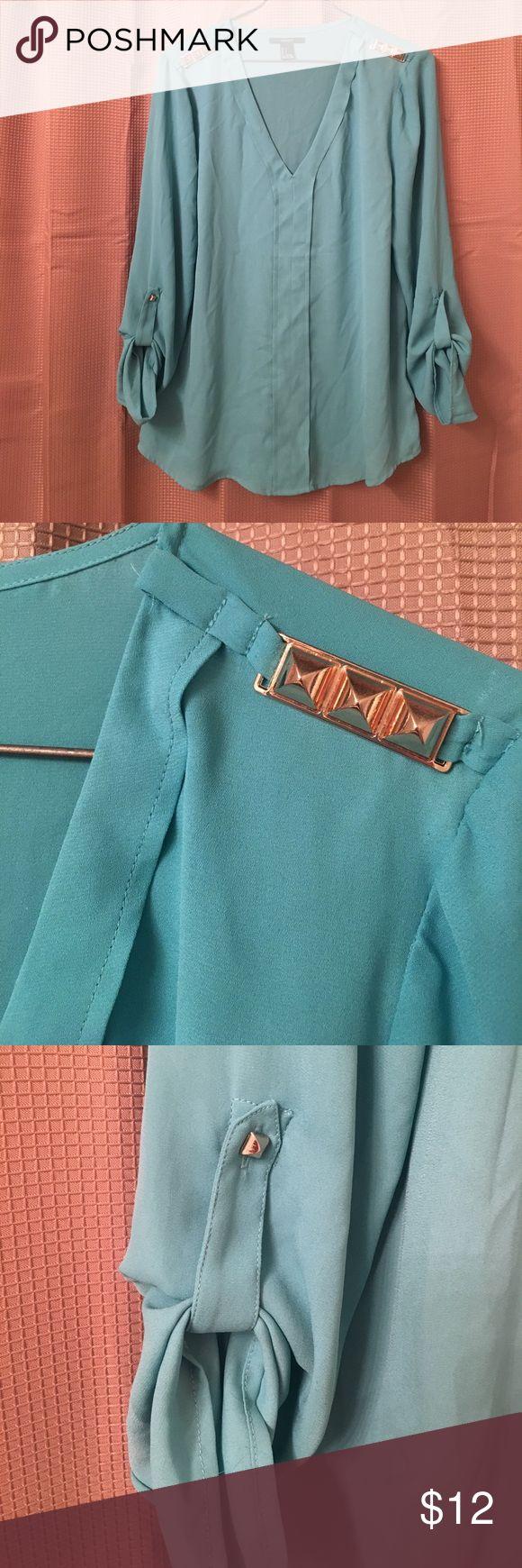 FOREVER21 blouse Teal blouse, metal gold spike shoulder details. Forever 21 Tops Blouses