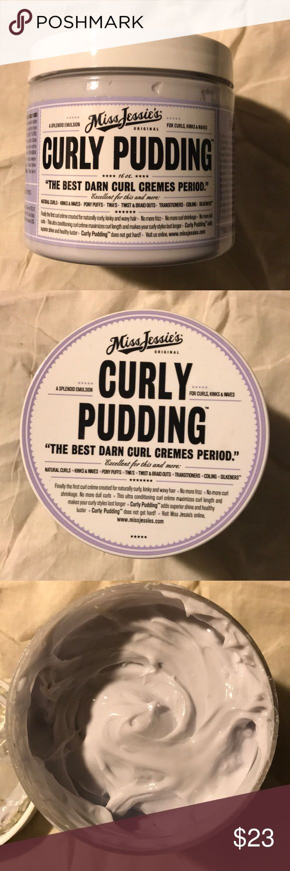 Miss Jessie's Curly Pudding 💜 Miss Jessie's curly pudding. Transform your frizzy locks to curly cues with this Creme! Has a great scent. I only used once so tub it pretty much 100% full. Good for daily use. It is a pretty big tub of product!!! Miss Jessie's Makeup