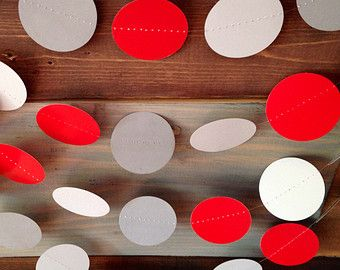 Red and Gray Garland Birthday Party Decor, Ohio State Colors, Buckeye Football Party, Baby Shower Decor, Nursery, Etc!