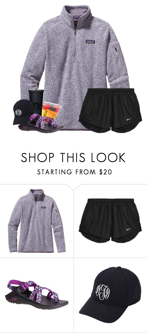 """""""in the flood or the fire, You're with me and You won't let go"""" by oliviajordyn ❤ liked on Polyvore featuring Patagonia, NIKE, Chaco and Aggie Gray"""
