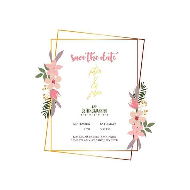 Elegant Wedding Frame Wedding Frames Painted Wedding Invitation Copper Wedding Invitations
