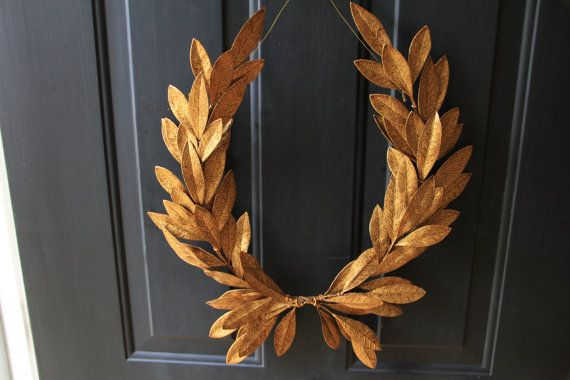 Antique Gold Laurel Bay Leaf Crest Wreath Holiday Christmas Peace Victory Olympic Year-round Faux Artificial