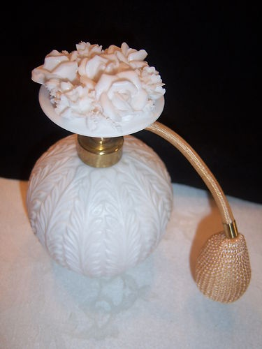Gorgeous Vintage Carved Flower White Milk Glass Perfume Bottle | eBay