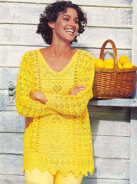 Пуловер. Модели для полных, связанные крючком