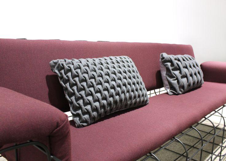 Cushion 'smocking'. Dark grey SMALL SMOCK. Sewn by hand. Kvadrat textiles. mobel og rum