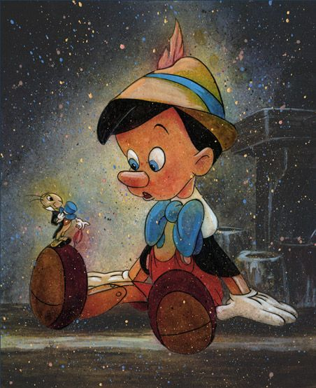 Wise Little Friend - Pinocchio by William Silversgiclee on canvas