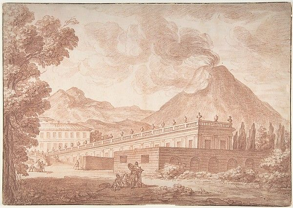 The Palazzo Reale at Pórtici with Vesuvius in the Background - formerly attributed to Joseph Benoît Suvée (French, Bruges 1743–1807 Rome) - Artist:Louis Chaix (French, Marseilles 1740–1811 Paris) Date:n.d. | The Met
